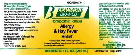 Beaumont Bio Med Homeopathic Allergy & Hay Fever Relief, 2 Fl Oz, Amber Glass, Oral Spray