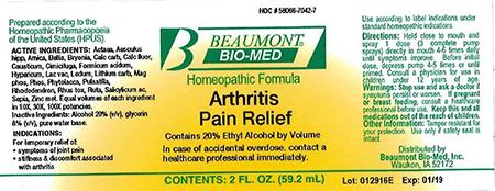 Beaumont Bio Med Homeopathic Arthritis Pain Relief, 2 Fl Oz, Amber Glass, Oral Spray