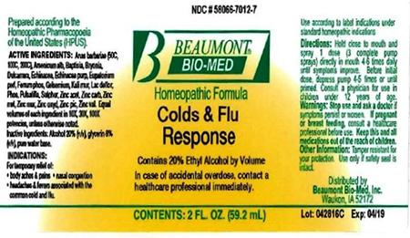 Beaumont Bio Med Homeopathic Cold & Flu Response, 2 Fl Oz, Amber Glass, Oral Spray