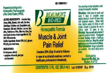 Beaumont Bio Med Homeopathic Muscle & Joint Pain Relief, 2 Fl Oz, Amber Glass, Oral Spray