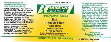 Beaumont Bio Med Homeopathic Skin Irritation &Itch Response, 2 Fl Oz, Amber Glass, Oral Spray