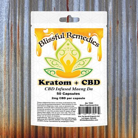 Blissful Remedies Kratom + CBD, CBD Infused Maeng Da, 50 Capsules