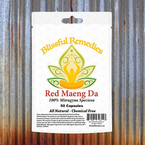 Blissful Remedies Red Maeng Da, 100% Migragyna Speciosa, 50 Capsules