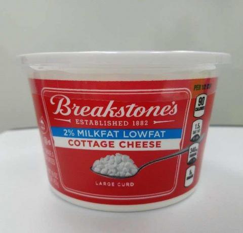 Label, Breakstone's 2% Milkfat Lowfat Large Curd Cottage Cheese, 16 oz.
