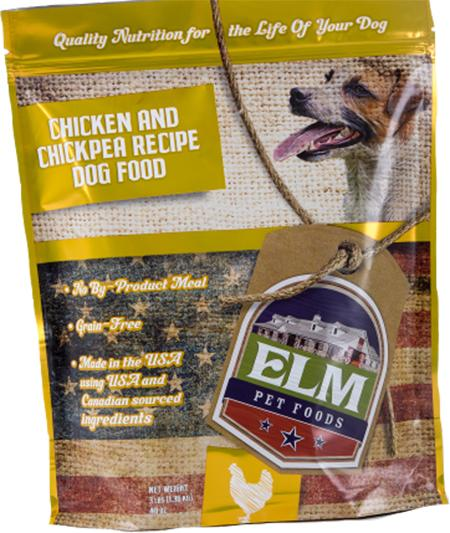 Elm Pet Food, Chicken and Chickpea Recipe, front label