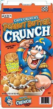 Cap'n Crunch's Peanut Butter Crunch, describes where to find the Before Date and UPC code