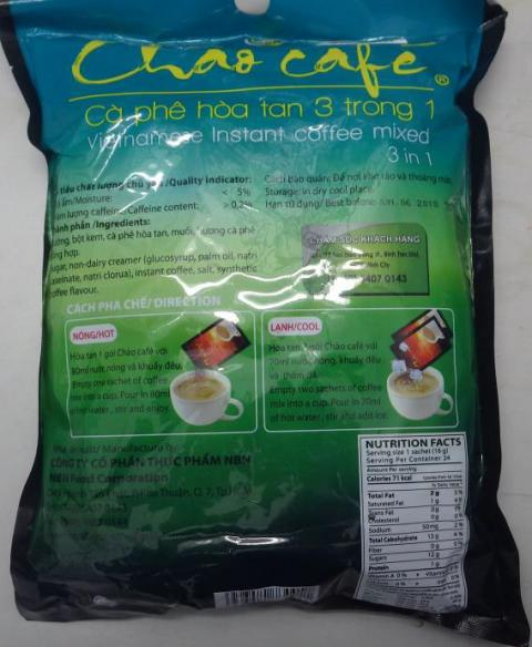 Chao Café Vietnamese Instant Coffee mixed 3 in 1, 384 g, back of package