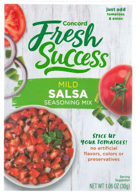 Front Label, Concord Fresh Success Mild Salsa Seasoning Mix