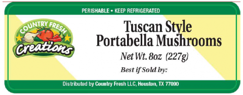 Country Fresh Creations Tuscan Style Portabella Mushrooms, Net Wt. 8 oz. (227g)