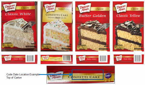 Images of product labeling with UPC and code date location example for Duncan Hines Classic White, Confetti Cake, Butter Golden, Classic Yellow