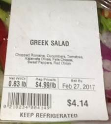 Example of Greek Salad Label