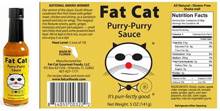 Fat Cat-brand Purry-Purry Sauce Hot Sauce, 5 ounce product image and label
