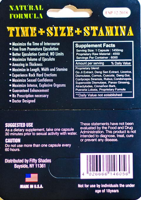 Fifty Shades, Back of package with Supplement Facts