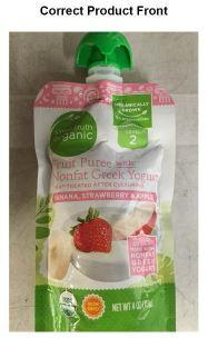 Front Label Simple Truth Organic Fruit Puree with Nonfat Greek Yogurt, Banana, Strawberry, & Banana