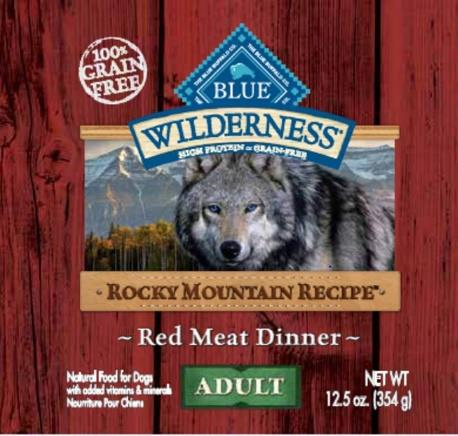 Front label - BLUE Wilderness Rocky Mountain Recipe Red Meat Dinner Wet Food for Adult Dogs 12.5 oz. can