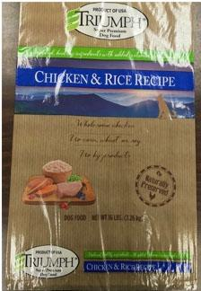 Front label TRIUMPH CHICKEN & RICE RECIPE, 16 lb bag