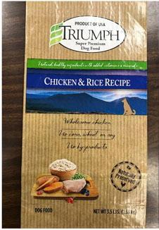 Front label TRIUMPH CHICKEN & RICE RECIPE, 3.5 lb bag