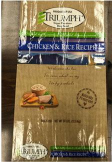 Front label TRIUMPH CHICKEN & RICE RECIPE, 30 lb bag