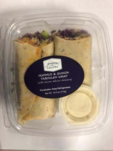 Front label, Greens & Grains Hummus and Quinoa Tabouleh Wrap