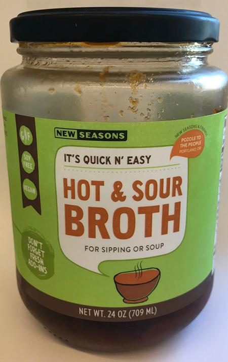 Front label, New Seasons Hot & Sour Broth