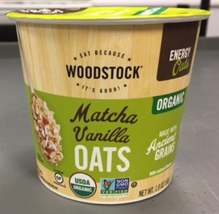 Front of package, Woodstock Matcha Vanilla Oats