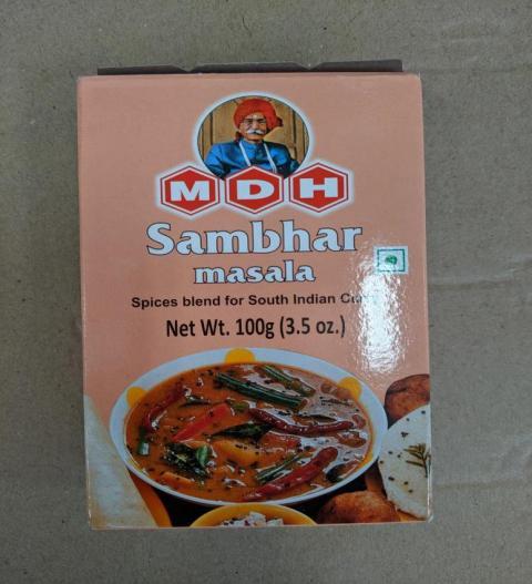 Front Label: MDH Sambhar Masala, Net Wt. 100g (3.5 oz.)