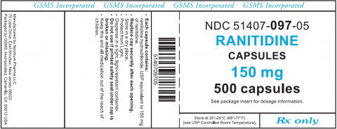 GSMS Incorporated, NDC 51407-097-05 Ranitidine Capsules 150 mg 500 capsules Rx only