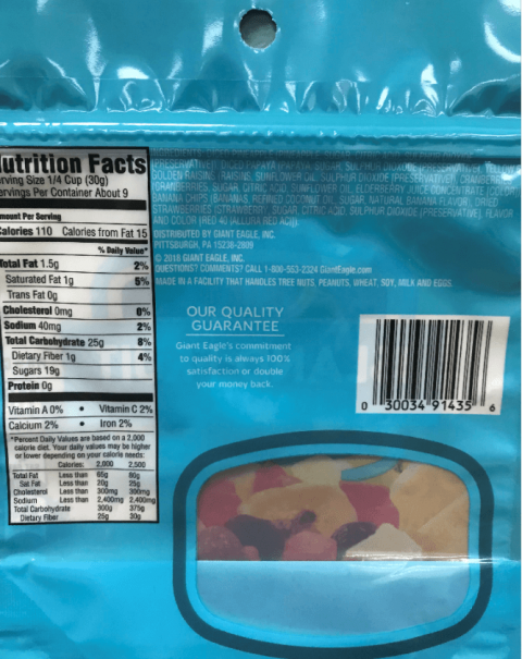 Giant Eagle Dried Island Fruit Mix, Nutrition Facts back label