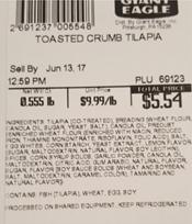 Giant Eagle Toasted Crumb Tilapia, PLU 69123