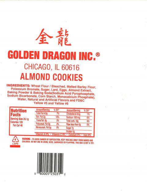 Golden Dragon Inc Almond Cookies Ingredients and Nutrition Facts label