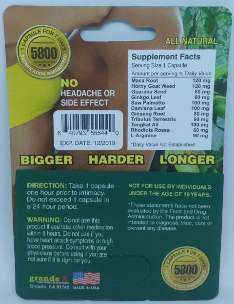 Grand X, Back of package with Supplement Facts