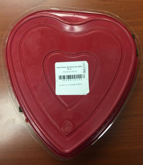 Heart Plastic Platter Strawberries w Dip with Chocolate Frosting Refrigerated, back
