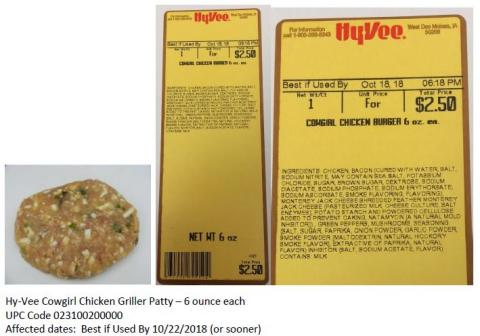 "Hy-Vee Cowgirl Chicken Griller Patty"" title=""Hy-Vee Cowgirl Chicken Griller Patty"