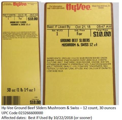 Hy-Vee Ground Beef Sliders Mushroom & Swiss label