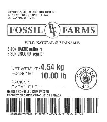 Product labeling Northfork Bison Distributions Inc. SayersBrook Bison Ranch Bison Burgers 8 oz COV, Net Weight 10 LB