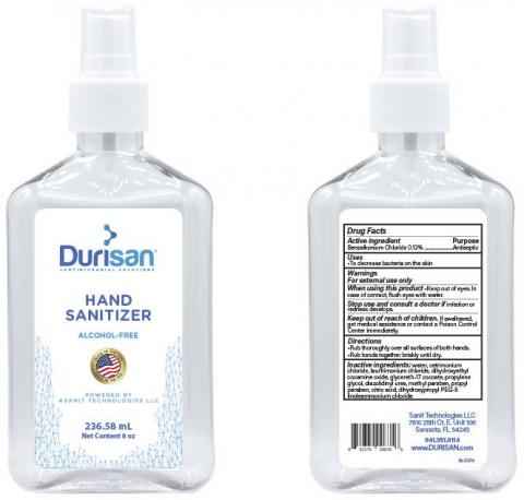 """Durisan Hand Sanitizer, 236.58 mL container, Front Label"" & ""Durisan Hand Sanitizer, 236.58  mL container, Back Label"""