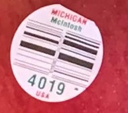 """Michigan McIntosh PLU label 4019"""