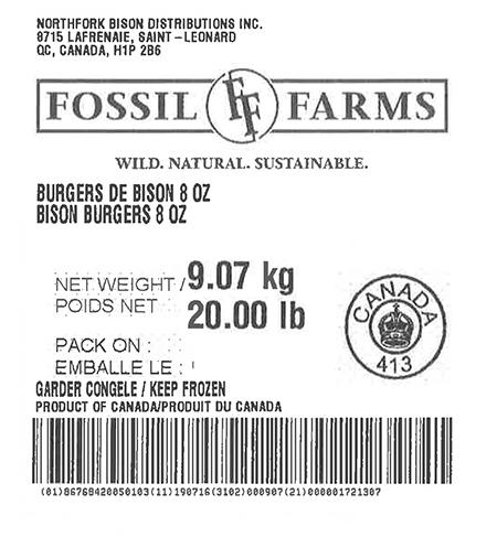 Product labeling Northfork Bison Distributions Inc. Fossil Farms Bison Burgers 8 oz, Net Weight 20 LB