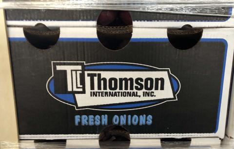 """Product label, TLC Thomson International, Inc. Fresh Onions Carton"""
