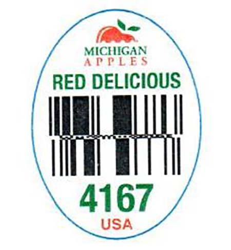 """Michigan Red Delicious PLU label 4167"""