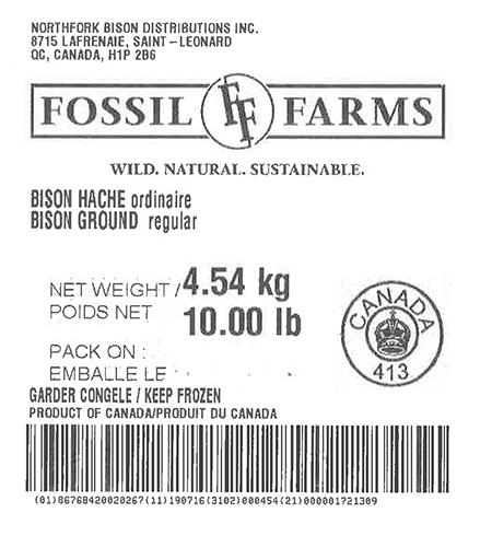 Product labeling Northfork Bison Distributions Inc. Fossil Farms Bison Ground regular, Net Weight 10 LB