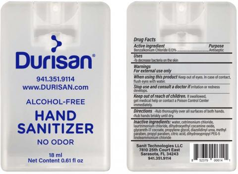 """Durisan Hand Sanitizer, 18 mL container, Front Label"" & ""Durisan Hand Sanitizer, 18 mL container, Back Label"""
