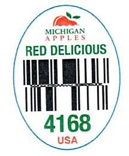 """Michigan Red Delicious PLU label 4168"""