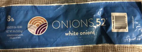 """Product label, Onions 52, Inc. white onions 8 lb"""