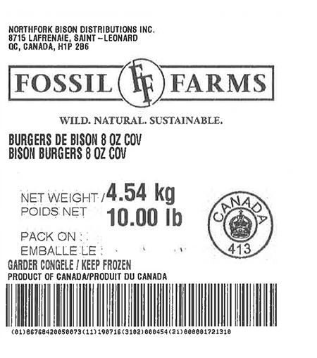 Product labeling Northfork Bison Distributions Inc. Fossil Farms Bison Burgers 8 oz COV, Net Weight 10 LB
