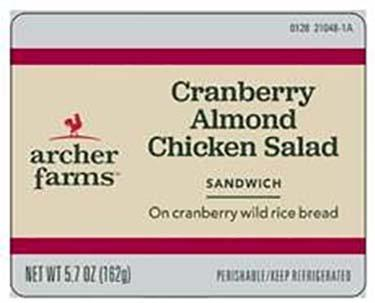 Label, Archer Farms Cranberry Almond Chicken Flat