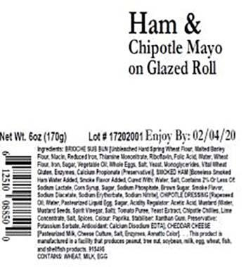 Product labeling, Premo Ham & Chipotle Mayo on Glazed Roll 6 oz