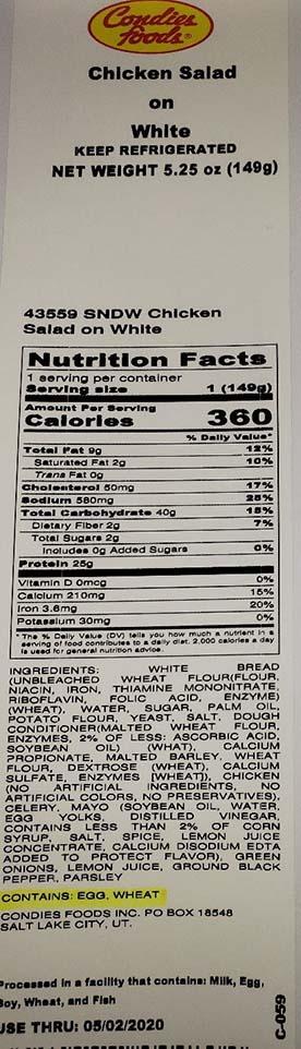 Label, Chicken Sandwich on White