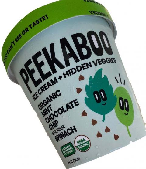 Peekaboo Mint Chocolate Chip with Hidden Spinach Ice Cream, Best Before 10-08-2021