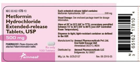 Label, Metformin Hydrochloride Extended-release Tablets, 500mg, 100 tablets